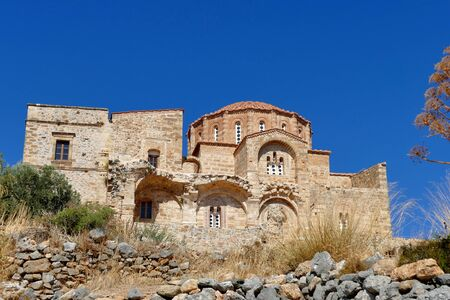 The church of Agia Sofia is a valuable church located in the upper part of the fortress, right on a cliff overlooking the sea. Monemvasia, Greece.