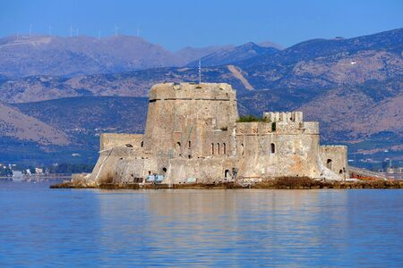 Bourtzi is a very suggestive Venetian fortress in the middle of the port of Nauplia, Greece Stock fotó