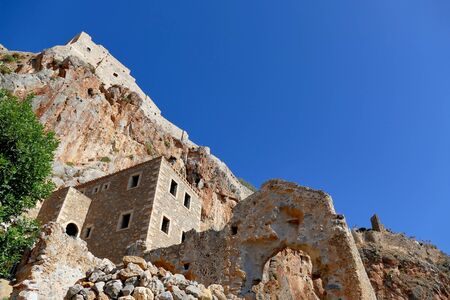 Detail of the mythical castle of Monemvasia, in Greece