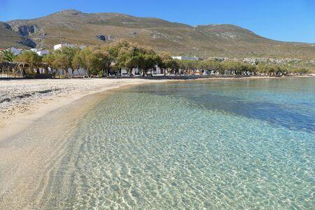 View of the sandy beach of Diakofti, Kythera, Greece