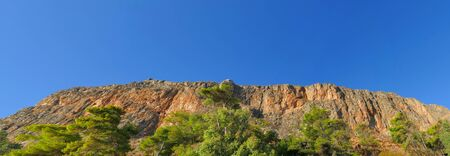 Impressive panoramic view of Moemvasia mountain in Greece