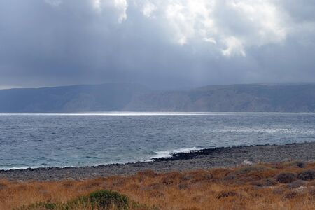 Panoramic view of Paleopoli beach in Kythira, Greece