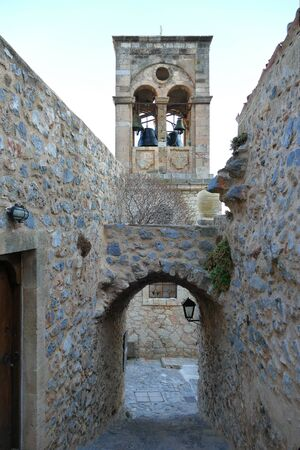 Detail of a city street inside the mythical castle of Monemvasia, in Greece