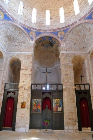 Monemvasia, Greece September 30 2019 The church of Agia Sofia is a valuable church located in the upper part of the fortress, right on a cliff overlooking the sea.
