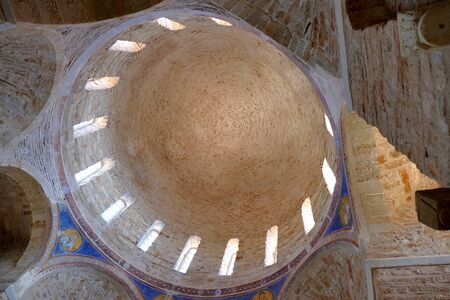 Monemvasia, Greece September 30 2019 Dome of the church of Agia Sofia is a valuable church located in the upper part of the fortress, right on a cliff overlooking the sea.