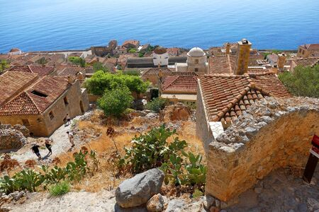 Monemvasia, Greece September 30 2019 ,Tourists visit the city inside the mythical castle of Monemvasia