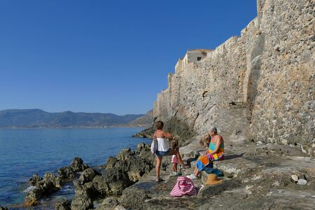 Monemvasia, Greece September 30 2019, Tourists visit the outside of the mythical castle of Monemvasia