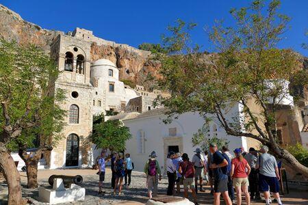 Monemvasia, Greece September 30 2019, Tourists visit the city inside the mythical castle of Monemvasia Sajtókép