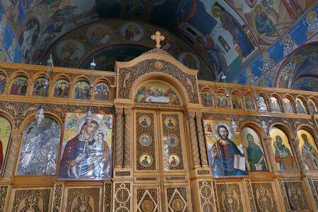 Porto Heli, Greece October 03 2019 Detail of an Orthodox church in the famous tourist resort Porto Heli 版權商用圖片