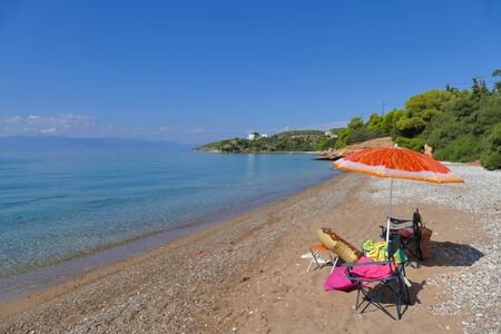 Beautiful Ververonda beach near the famous tourist resort Porto Heli 版權商用圖片