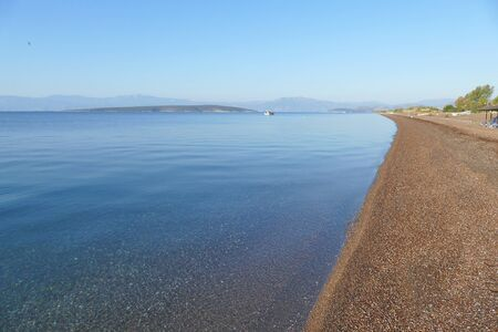 Panoramic view of the bay of Kantia Beach in Greece