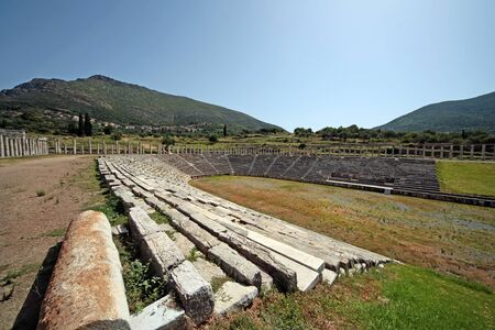 Panoramic view of the stadium in ancient Messini archaeological site, south Peloponnese, Greece