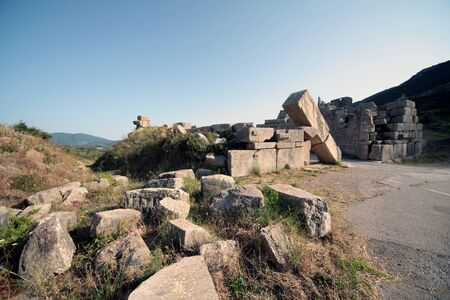 Panoramic view of the Arcadia Gate on the way to go to Ancient Messene,Peloponnese,Greece Фото со стока - 146859458