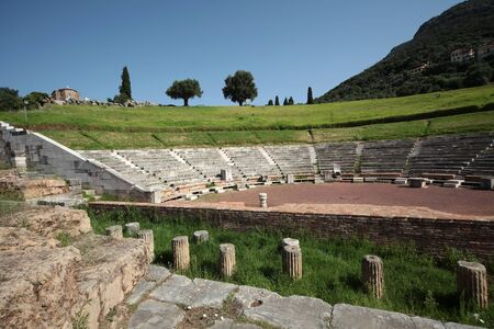 Panoramic view of the Theatre, in the ancient Messini archaeological site, south Peloponnese, Greece Фото со стока - 146859501