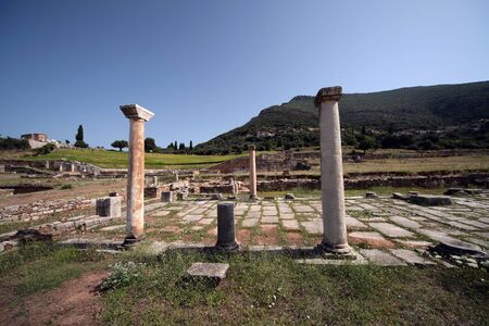 Panoramic view of the ancient Messini archaeological site, south Peloponnese, Greece Фото со стока