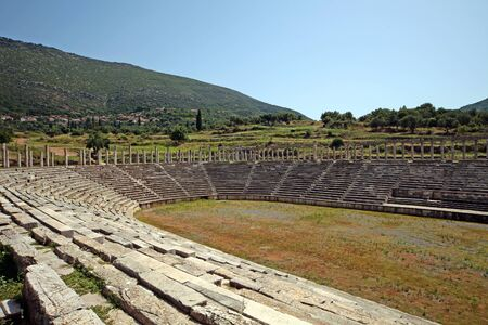 Panoramic view of the stadium in ancient Messini archaeological site, south Peloponnese, Greece Фото со стока - 146859488