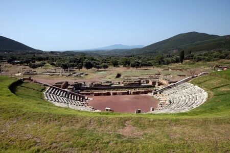 Panoramic view of the Theatre, in the ancient Messini archaeological site, south Peloponnese, Greece