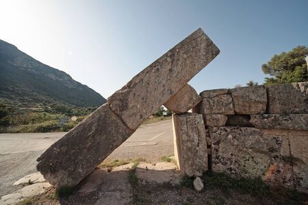 Panoramic view of the Arcadia Gate on the way to go to Ancient Messene,Peloponnese,Greece Фото со стока - 146859491