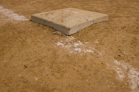 Primera Base en un campo de softbol local Foto de archivo