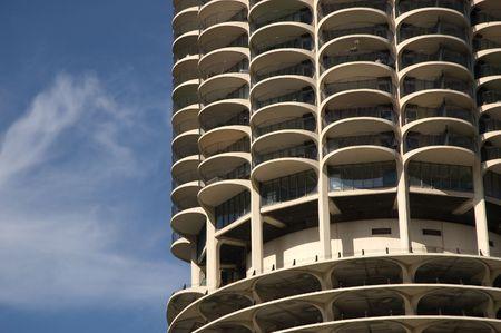 Marina City Tower base in Chicago, Illinois Stock Photo