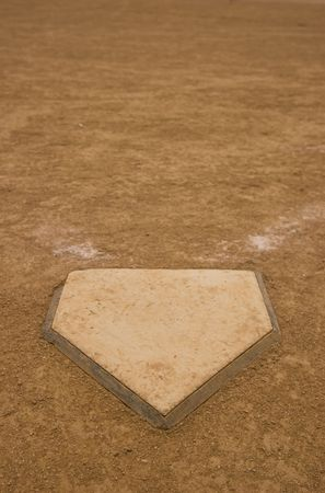 Home Plate of a baseballsoftball field Stock Photo