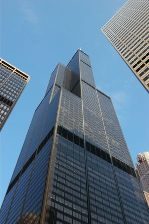 Wide Angle view of the Sears Tower from Adams/Wacker Drive Stock Photo - 3347994
