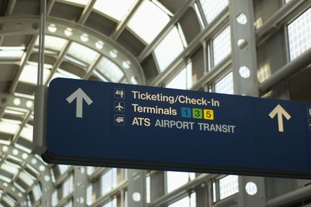 Directional Signage at an airport Stock Photo
