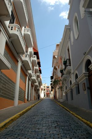Brick Paved Street in the center of Old San Juan, Puerto Rico