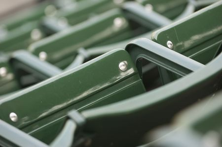 Green stadium seating (shallow depth of field) Stock Photo