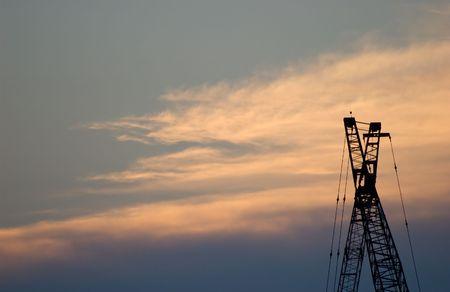 Construction Crane Silhouette Stock Photo