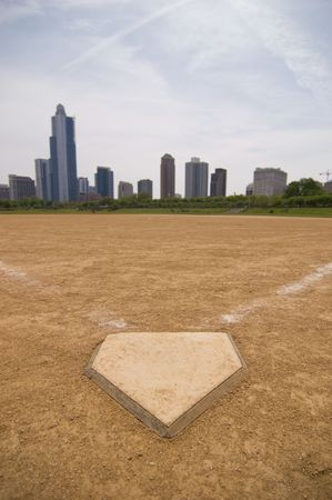 A softball field near downtown Stock Photo