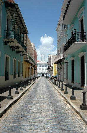 juan: Brick Paved Street in the Center of Old San Juan, Puerto Rico