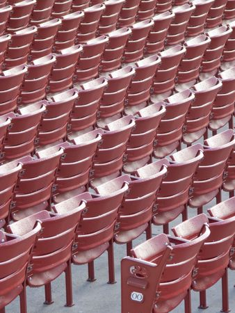 Rows of Empty Red Seats at the Ballpark