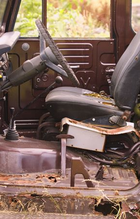 abandoned car: Interior of a rusted out truck