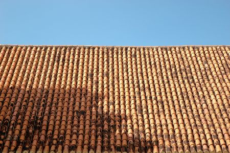 A typical tile roof in Old San Juan, Puerto Rico that make the city so beautiful Stock Photo