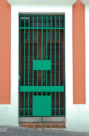 Colorful doorgate in Old San Juan, Puerto Rico