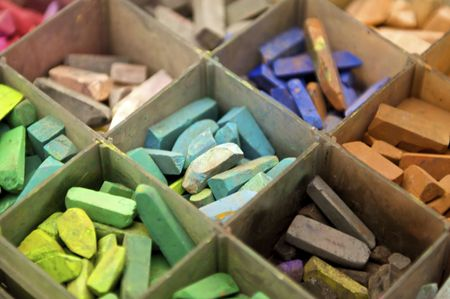 Tray of Colorful Pastel Chalk
