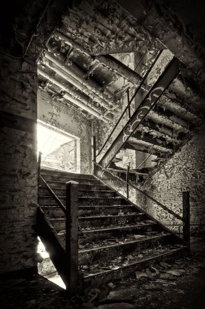 abandoned warehouse: Decaying Stairwell in an Industrial Building