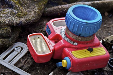 Broken Toy Camera Stock Photo