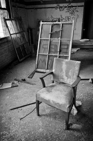 abandoned warehouse: Chair and Window Stock Photo