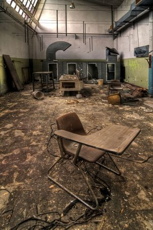 abandoned warehouse: Classroom Chair