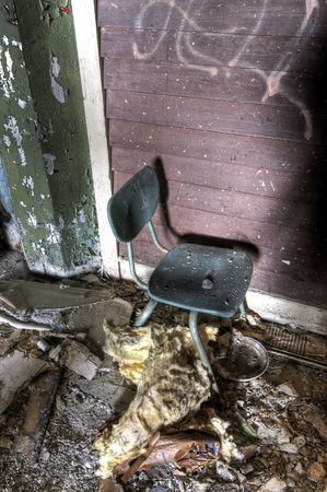 abandoned warehouse: School Chair