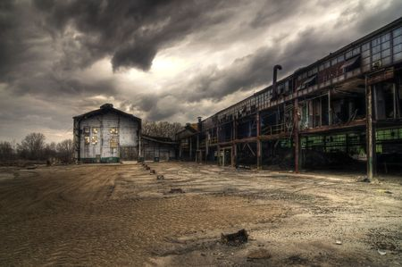 abandoned factory: Abandoned Industrial Buildings Stock Photo