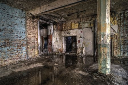 ruinous: Colorful Abandoned Factory Stock Photo
