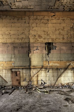 ruinous: Decayed Block Wall Stock Photo
