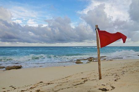 Red Beach Warning Flag Stock Photo