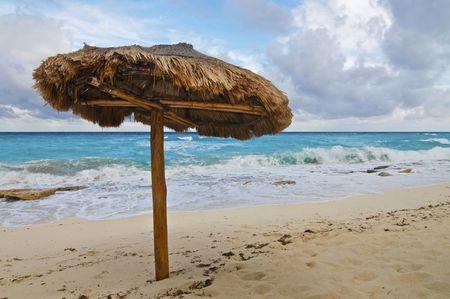 Single Palapa on a Caribbean Beach