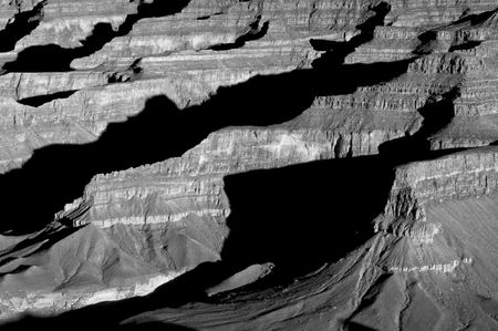 the height of a rim: Shadows cross over numerous ridges in Grand Canyon National Park, Arizona