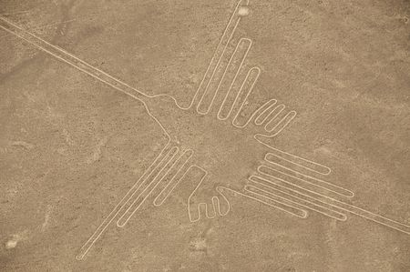 The Hummingbird Geoglyph at the Nazca Lines in Peru Stock Photo