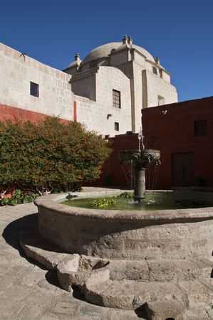 A Fountain at Santa Catalina Monastery in Arequipa, Peru Stock Photo